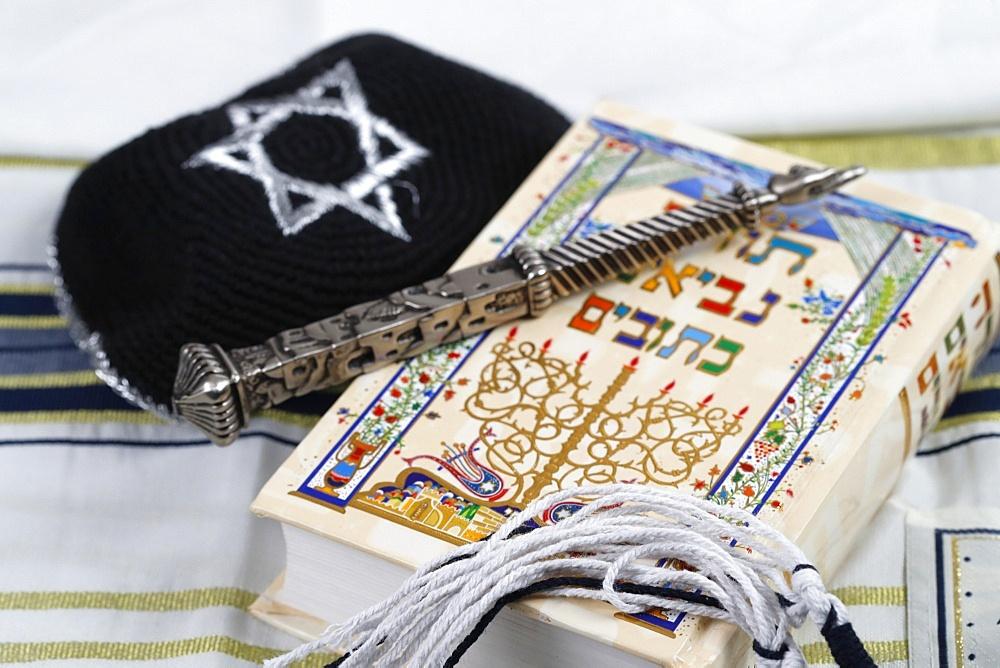 Silver yad, black and white tzitzit, tallit, kippah and Torah, Jewish symbols, France, Europe - 809-8101