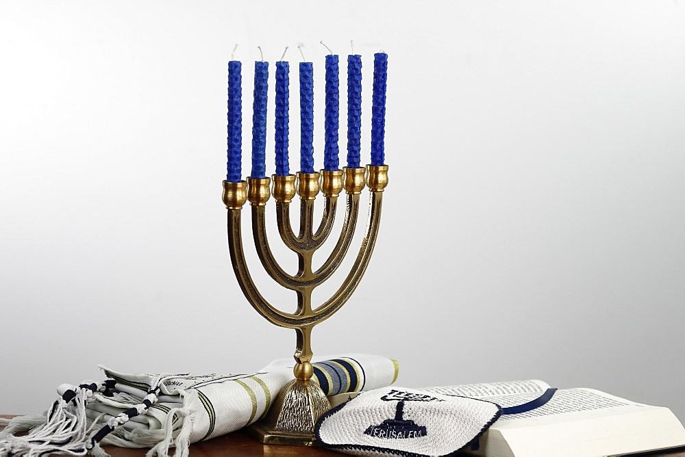 Menorah, tallit, kippah and Torah, Jewish symbols, France, Europe - 809-8103