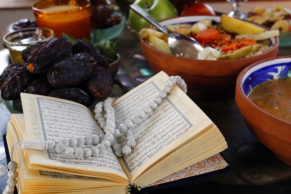 Traditional meal for iftar in time of Ramadan after the fast has been broken, France, Europe - 809-8109