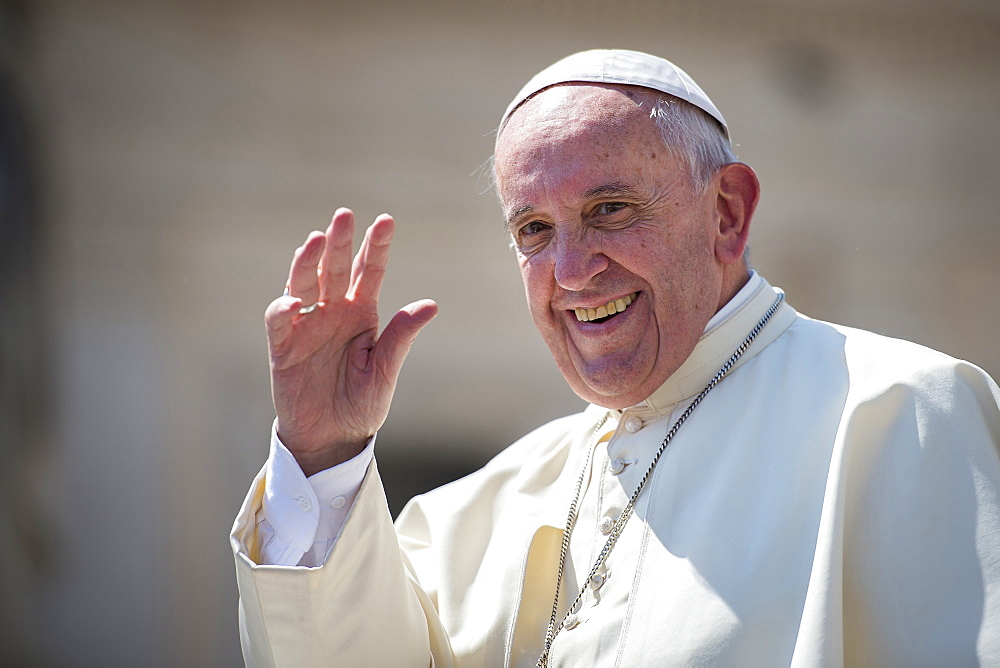 Pope Francis waving in Saint Peter's square at the Vatican, Rome, Lazio, Italy, Europe
