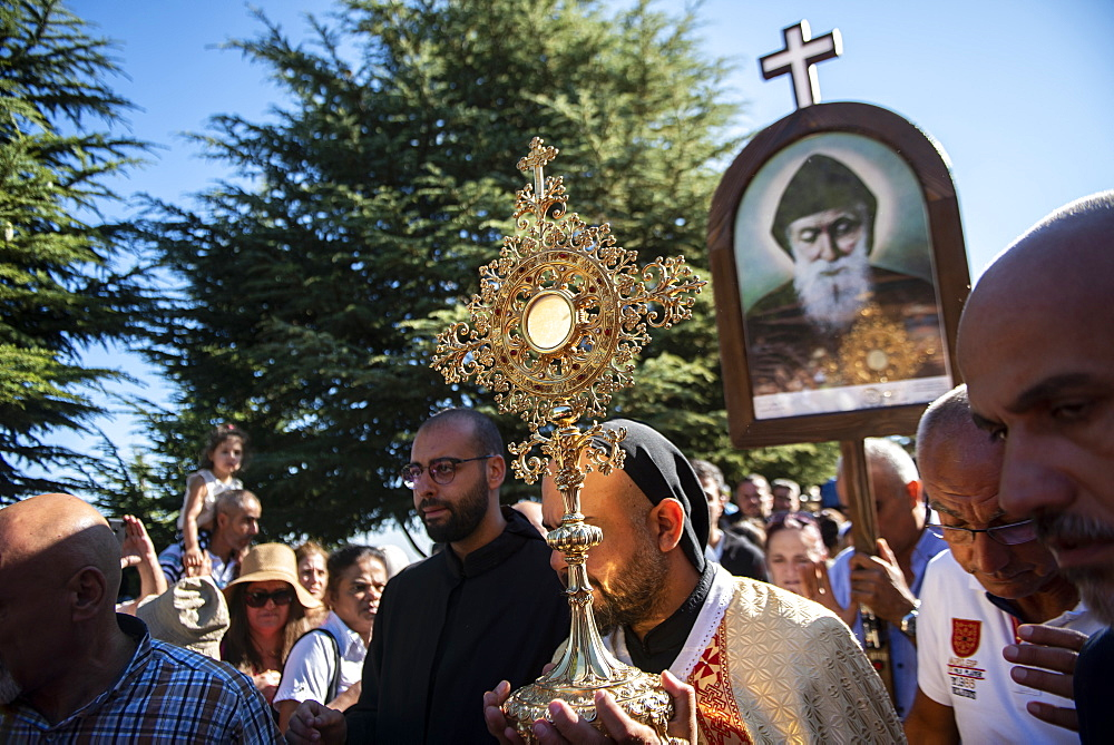 Lebanese Christians marching during a procession in the town of Annaya from the Hermitage to the Monastery of Saint Maroun, Annaya, Lebanon, Middle East - 809-8140