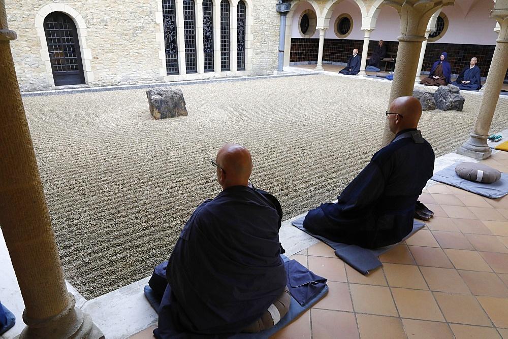 Zazen (Zen meditation) in Orval Trappist Abbey, Belgium, Europe - 809-8174