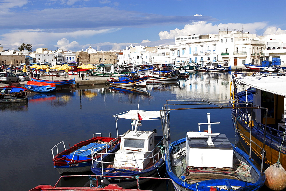 Old Port Canal and fishing boats, Bizerte, Tunisia, North Africa, Africa - 813-121