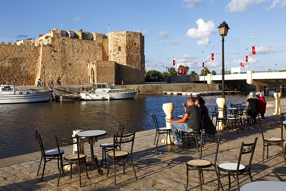 Old port canal and kasbah wall, Bizerte, Tunisia, North Africa, Africa - 813-124