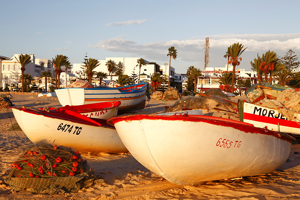 Fishing boats by the harbour, Hammamet, Tunisia, North Africa, Africa - 813-146