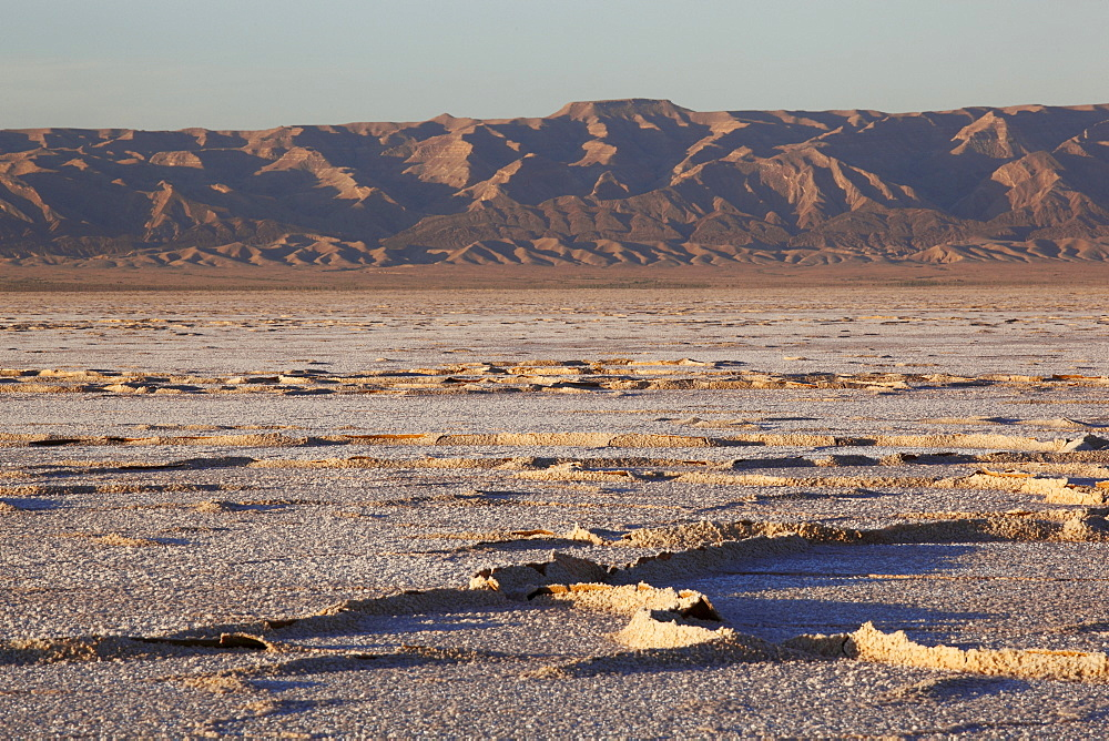 Chott El Jerid, flat dry salt lake between Tozeur and Kebili, Tunisia, North Africa, Africa - 813-170