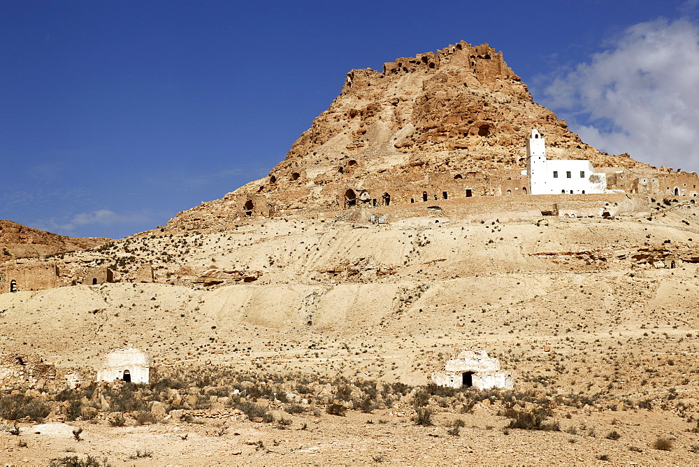 Ruins of the Berber village of Douiret perched on the hillside, Tataouine, edge of the Sahara Desert, Tunisia, North Africa, Africa - 813-172