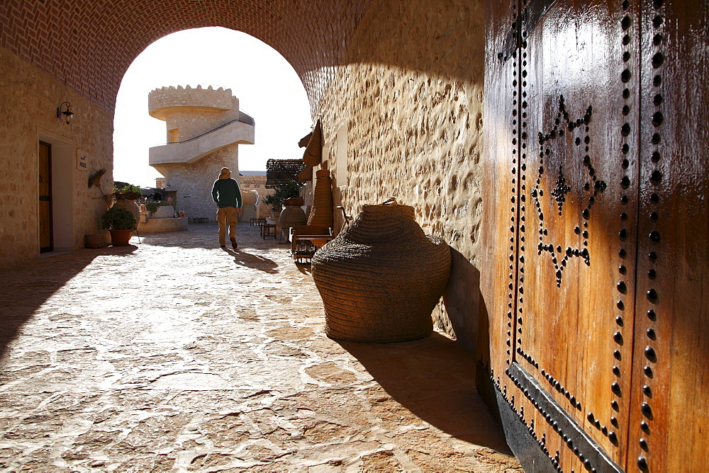 Tea house entrance and lookout, Tamezret village, Matmata, Tunisia, North Africa, Africa - 813-176