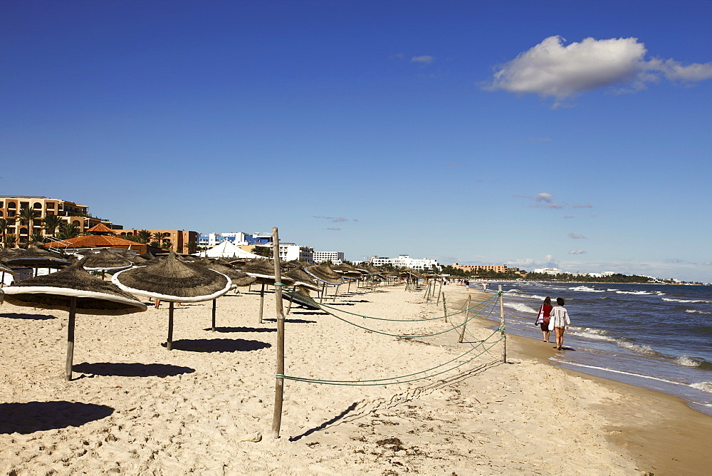 Beach scene in the tourist zone on the Mediterranean Sea, Sousse, Gulf of Hammamet, Tunisia, North Africa, Africa - 813-201