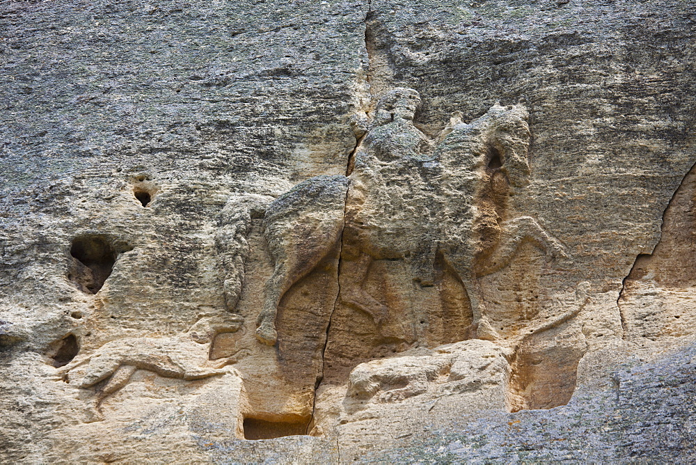 The Madara Rider, an 8th century relief depicting a king on horseback carved into rockface, UNESCO World Heritage Site, Madara, Bulgaria, Europe - 813-268