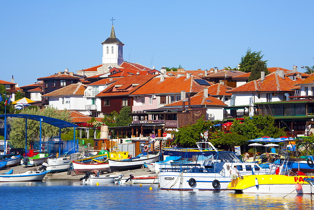 Tower of the Church of the Virgin Mary above the Old Town and Harbour, Nessebar, Black Sea, Bulgaria, Europe - 813-275