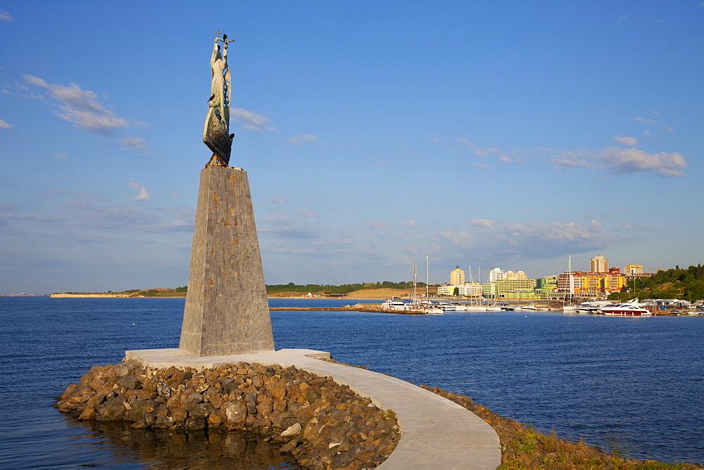 Statue of St. Nicholas in South Nessebar Bay, Nessebar, Bulgaria, Black Sea, Europe - 813-279