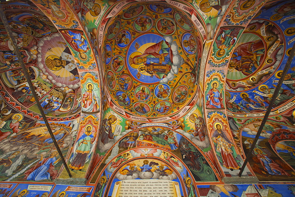 Arcade murals depicting religious figures and scenes, Church of the Nativity, Rila Monastery, UNESCO World Heritage Site, Bulgaria, Europe - 813-297