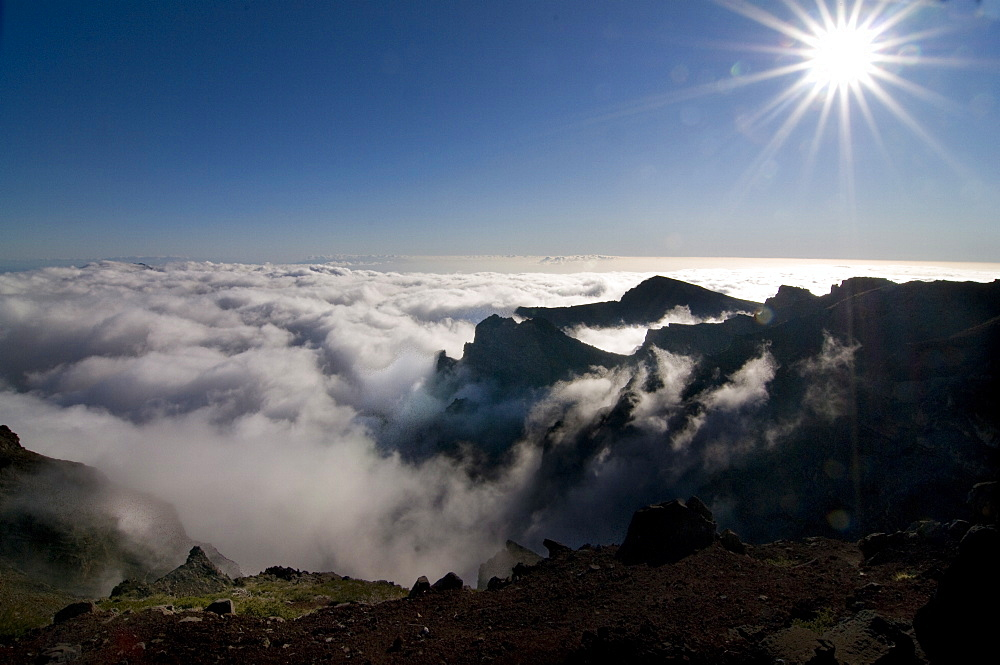 View over the volcanic crater Taburiente, La Palma, Canary Islands, Spain, Europe