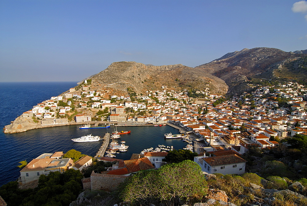 Small boats in the harbor of the island of Hydra, Greek Islands, Greece, Europe