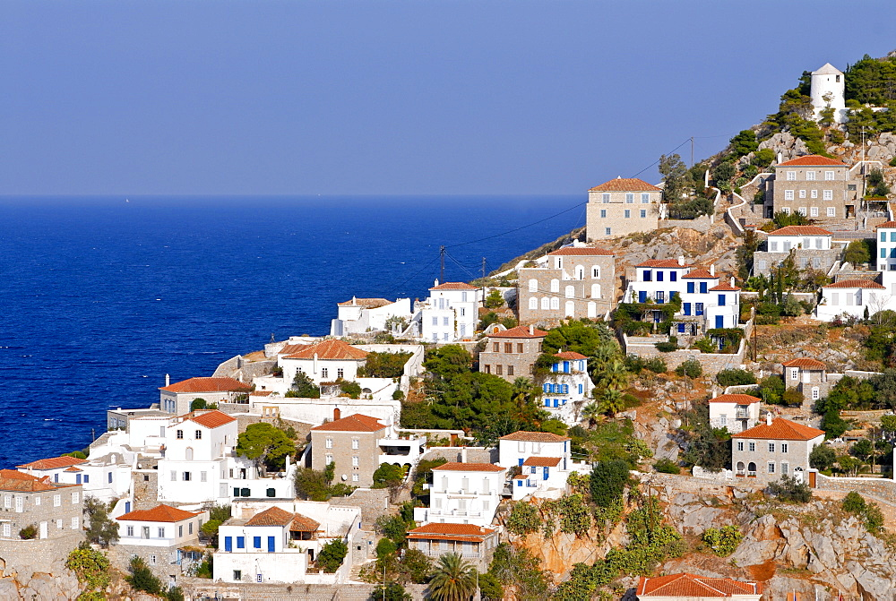 The town of Hydra on the island of Hydra, Greek Islands, Greece, Europe