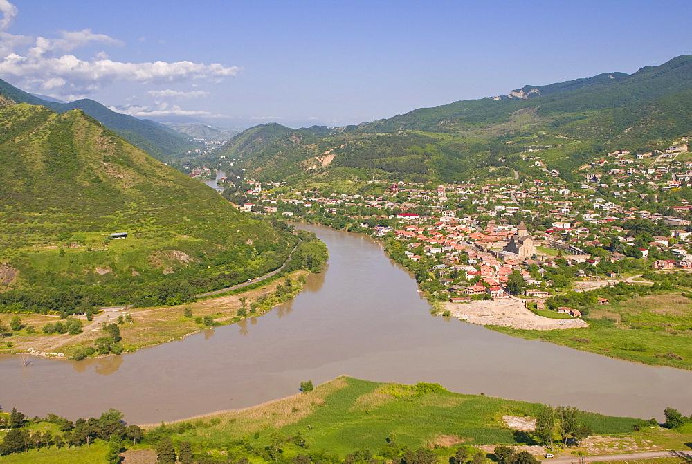 View over the Mtkvari River and Mtskheta, Georgia, Caucasus, Central Asia, Asia