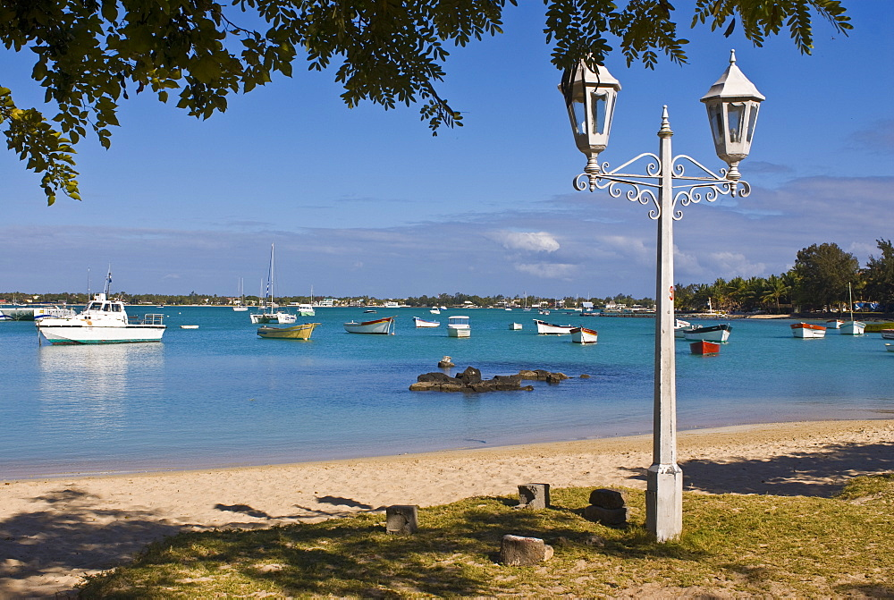 The bay and beach of Grand Baie, Mauritius, Indian Ocean, Africa