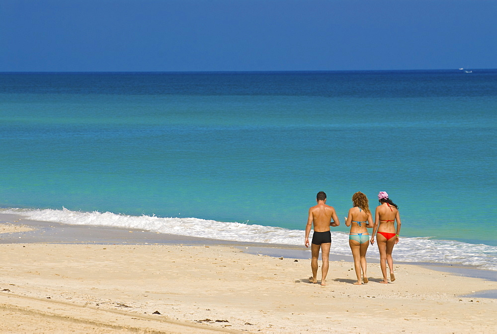 Tourists at the white sand beach of Playa del Este, Cuba, West Indies, Caribbean, Central America