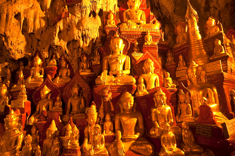 Golden Buddhist statues in the limestone caves of Pindaya, Myanmar, Asia - 816-2857