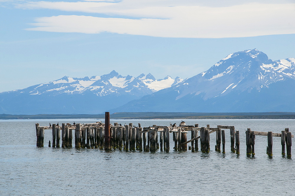Rotten pier at dusk in Puerto Natales, Patagonia, Chile, South America