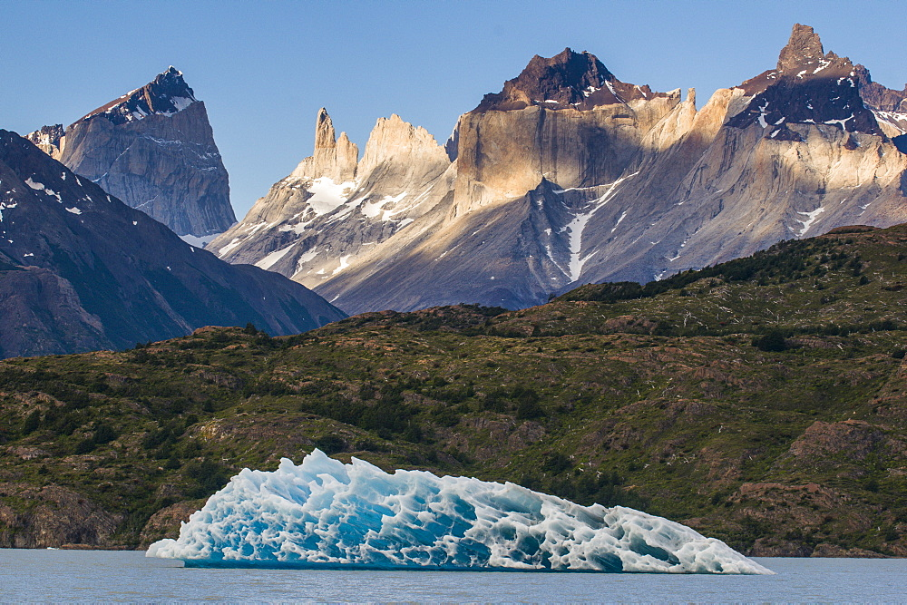 Iceberg on Lago Grey lake in the Torres del Paine National Park, Patagonia, Chile, South America