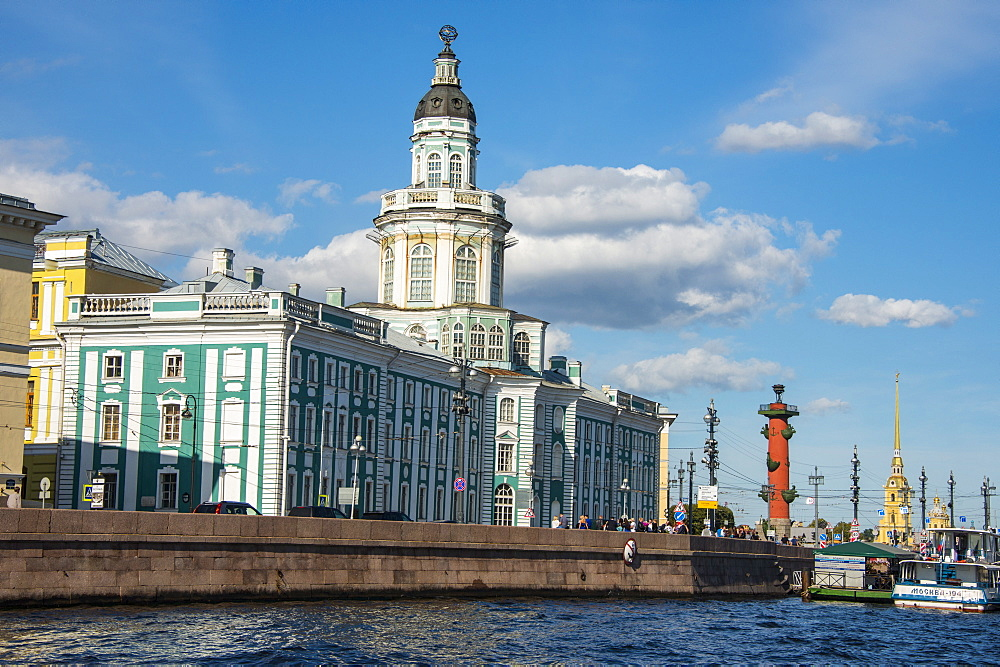 Neoclassical buildings at the Spit of Vasilievsky Island seen from the Neva, St. Petersburg, Russia, Europe