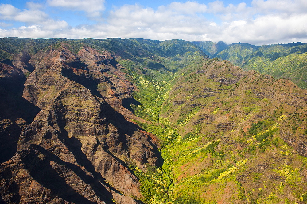 Aerial of the Waimea Canyon, Kauai, Hawaii, United States of America, Pacific