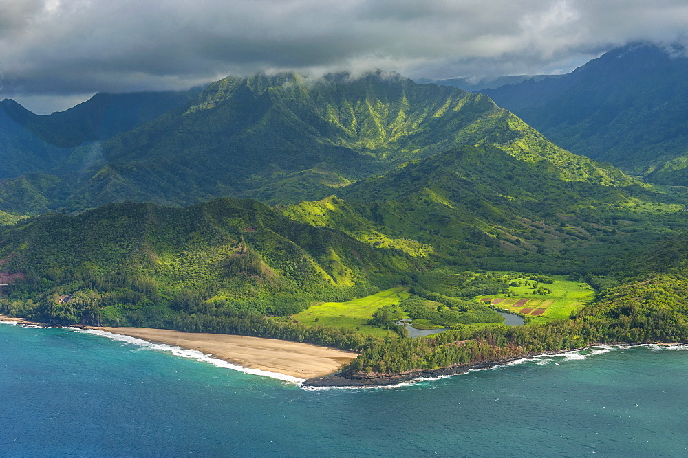 Aerial of the north shore of the island of Kauai, Hawaii, United States of America, Pacific