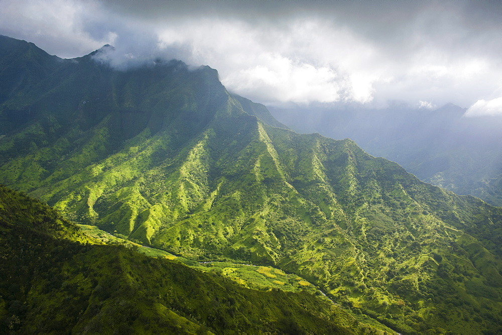 Aerial of the rugged interior of the island of Kauai, Hawaii, United States of America, Pacific