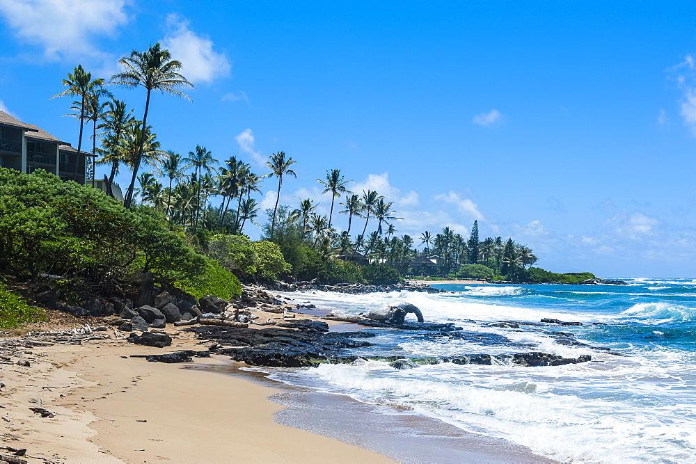 Sandy beach on Kapaa Beach Park on the island of Kauai, Hawaii, United States of America, Pacific