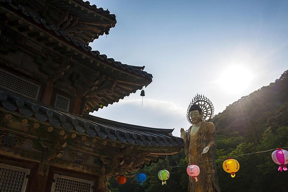 Backlit Golden Maitreya Statue, Beopjusa Temple Complex, South Korea, Asia