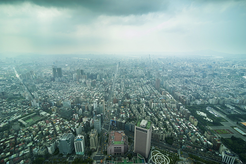 View over Taipei from the 101 Tower, Taipei, Taiwan, Asia