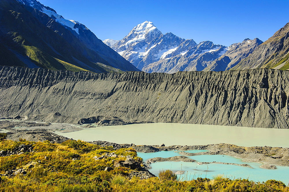 Turquoise glacier lake in front of Mount Cook, UNESCO World Heritage Site, South Island, New Zealand, Pacific