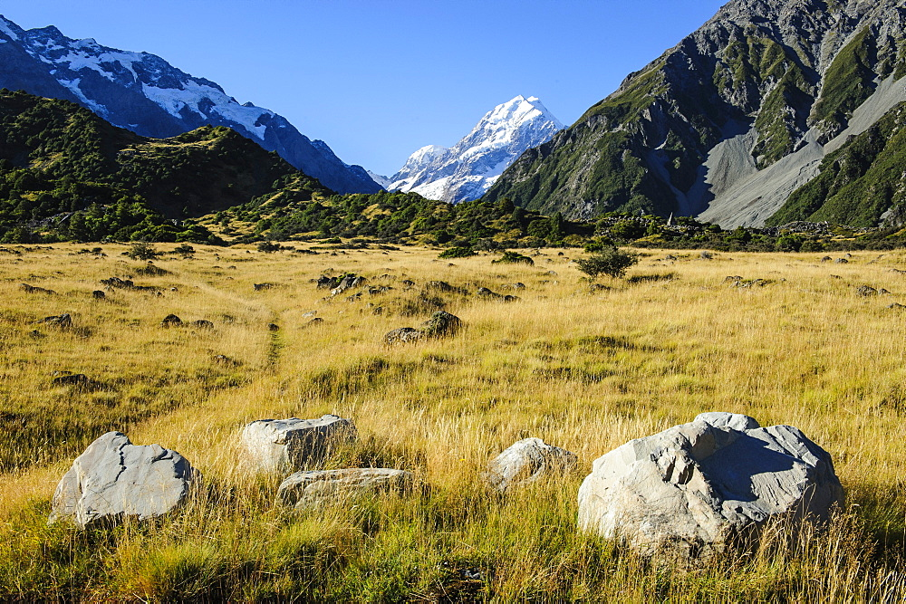 Mount Cook, the highest mountain in New Zealand, UNESCO World Heritage Site, South Island, New Zealand, Pacific