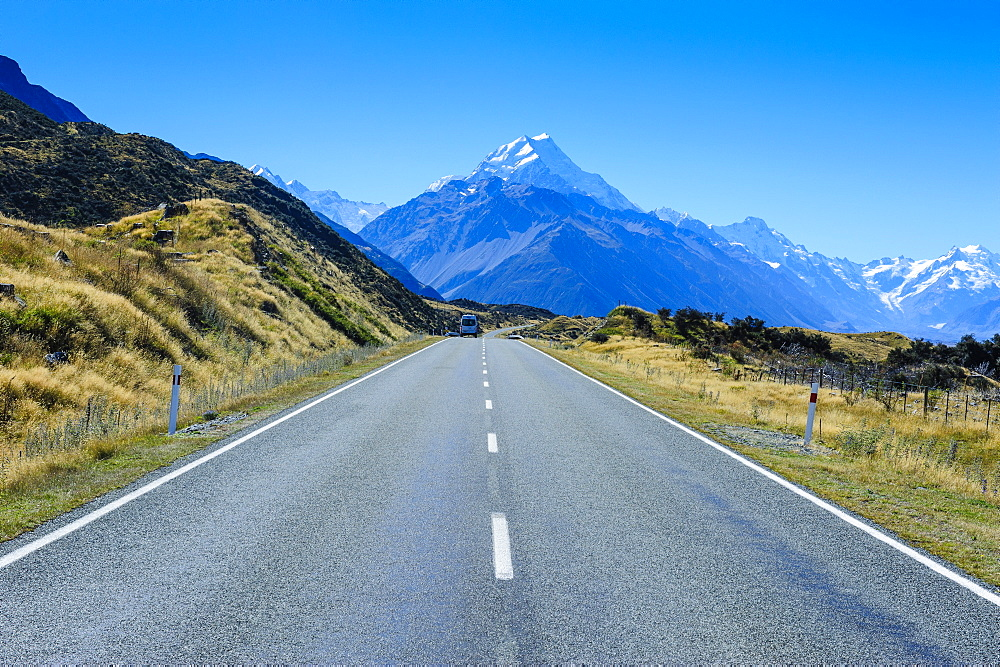 Road leading to Mount Cook National Park, South Island, New Zealand, Pacific