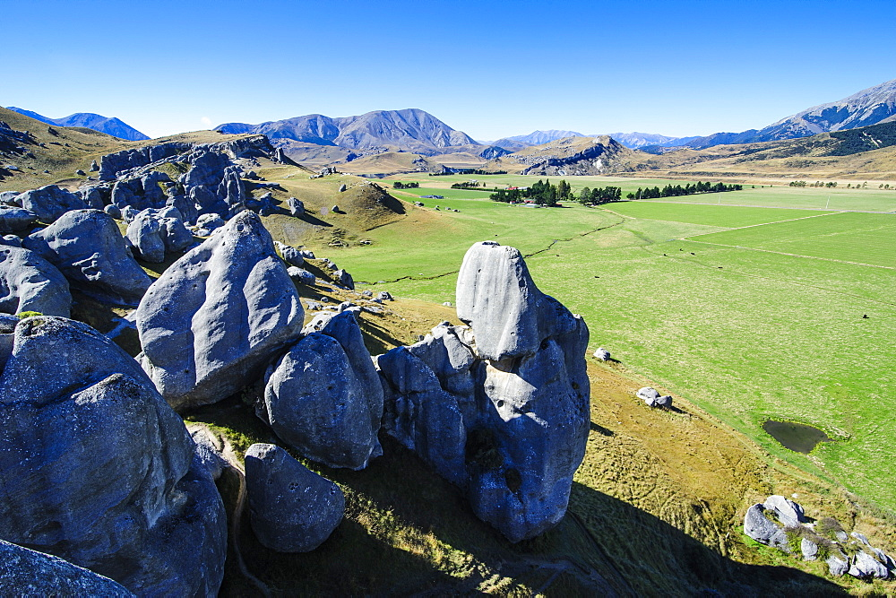 Limestone outcrops on Castle Hill, Canterbury, South Island, New Zealand, Pacific