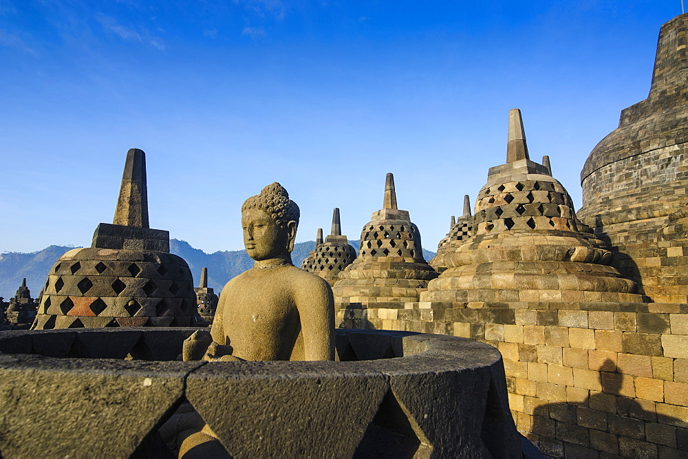 Early morning light at the temple complex of Borobodur, UNESCO World Heritage Site, Java, Indonesia, Southeast Asia, Asia - 816-7355