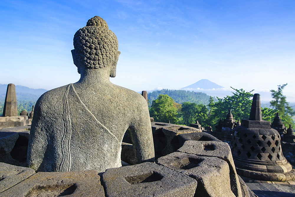 Buddha sitting in a stupha in the temple complex of Borobodur, UNESCO World Heritage Site, Java, Indonesia, Southeast Asia, Asia - 816-7361