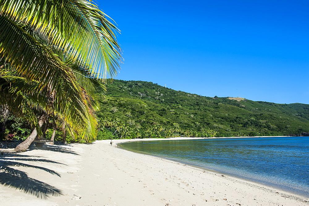 White sandy beach on  Korovou Eco-Tour Resort, Naviti, Yasawas, Fiji, South Pacific, Pacific