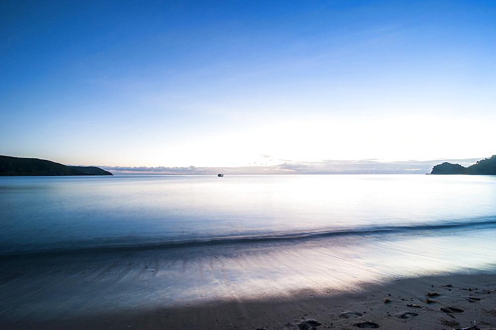 Sunset over the beach of the Korovou Eco-Tour Resort, Naviti, Yasawas, Fiji, South Pacific, Pacific