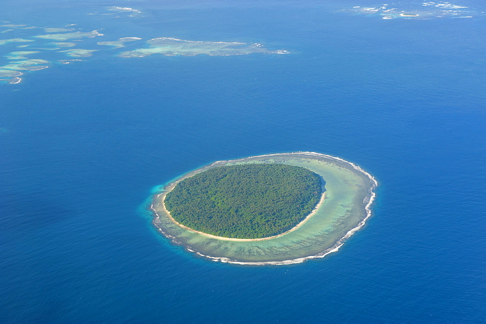 Aerial photo of a little island in Tonga, South Pacific, Pacific