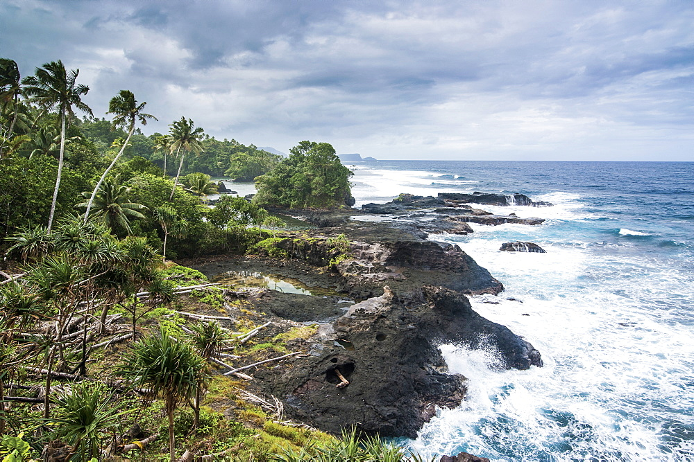 Wild rocky coast of Upolu, Samoa, South Pacific, Pacific