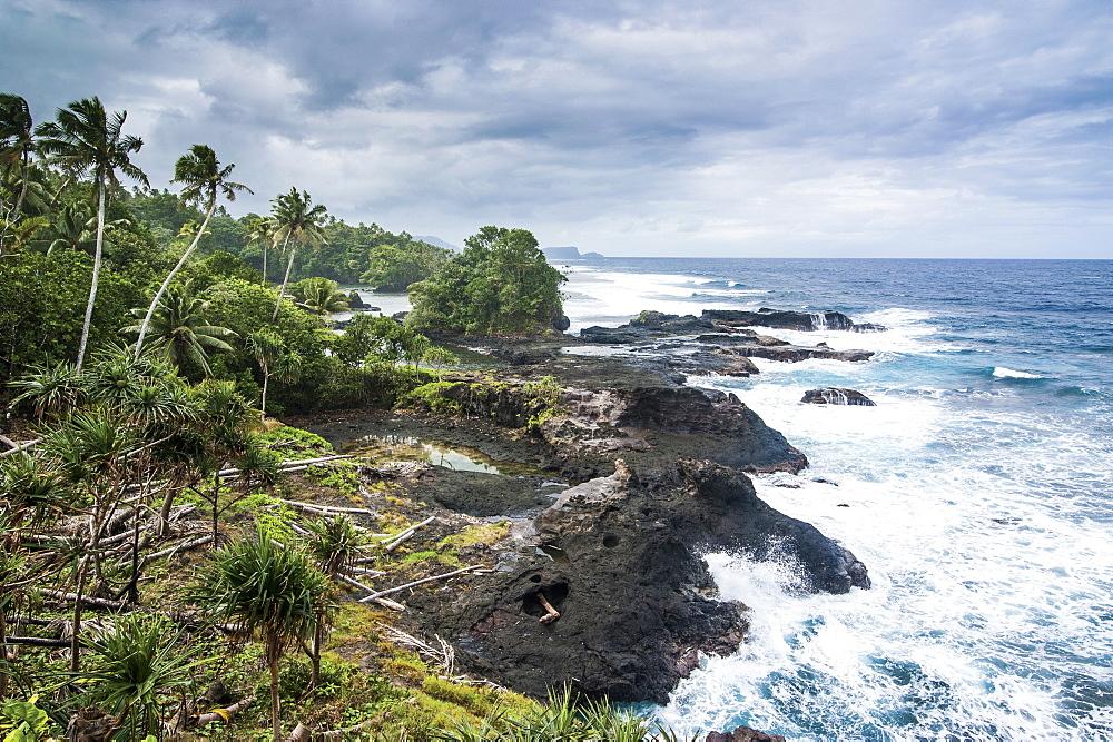 Wild rocky coast of Upolu, Samoa, South Pacific, Pacific