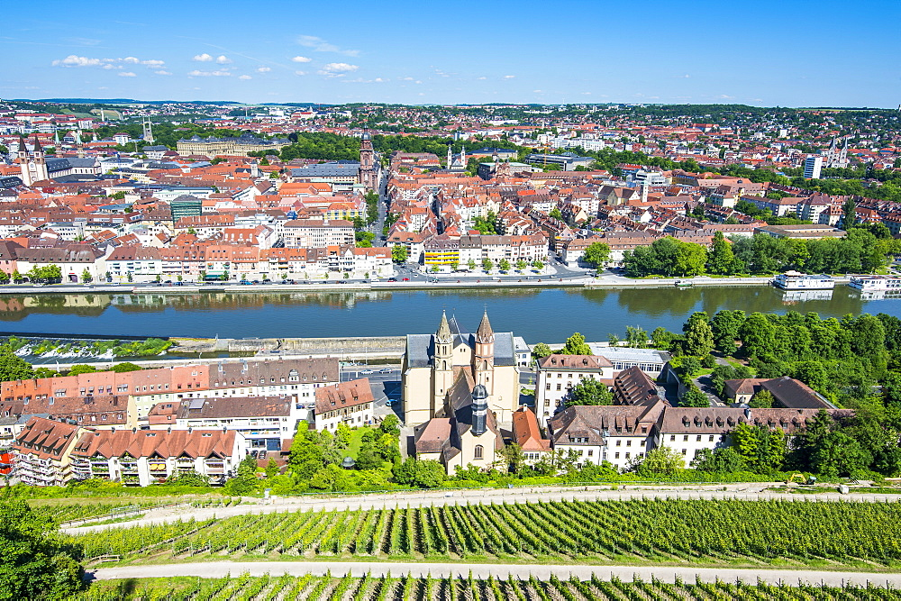 View over Wurzburg from Fortress Marienberg, Franconia, Bavaria, Germany, Europe