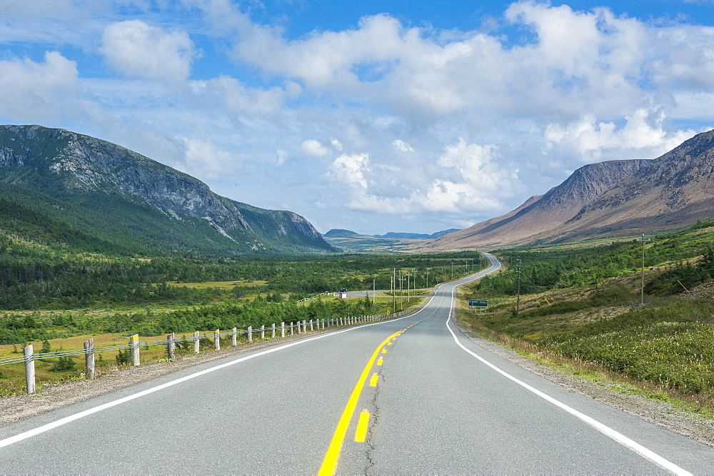 Straight Bonne Bay road on the east arm of Gros Morne National Park, UNESCO World Heritage Site, Newfoundland, Canada, North America