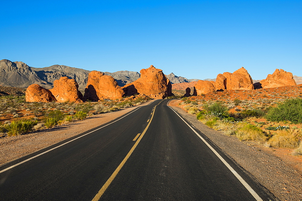 Road leading in the redrock sandstone formations of the Valley of Fire State Park, Nevada, United States of America, North America