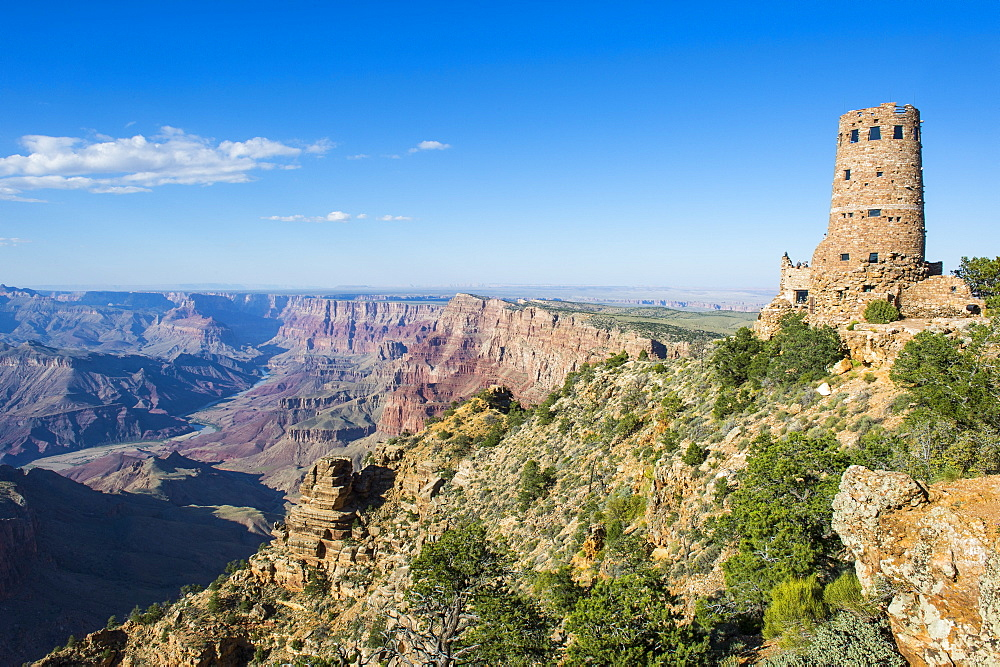 Desert view stone tower on top of the south rim of the Grand Canyon, UNESCO World Heritage Site, Arizona, United States of America, North America