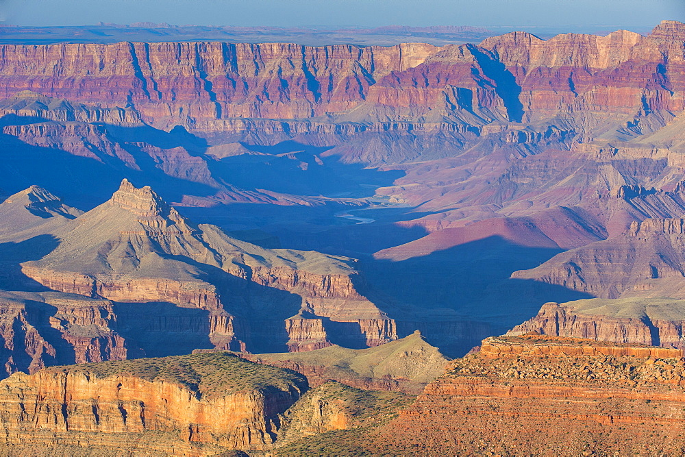 Sunset over the south rim of the Grand Canyon, UNESCO World Heritage Site, Arizona, United States of America, North America