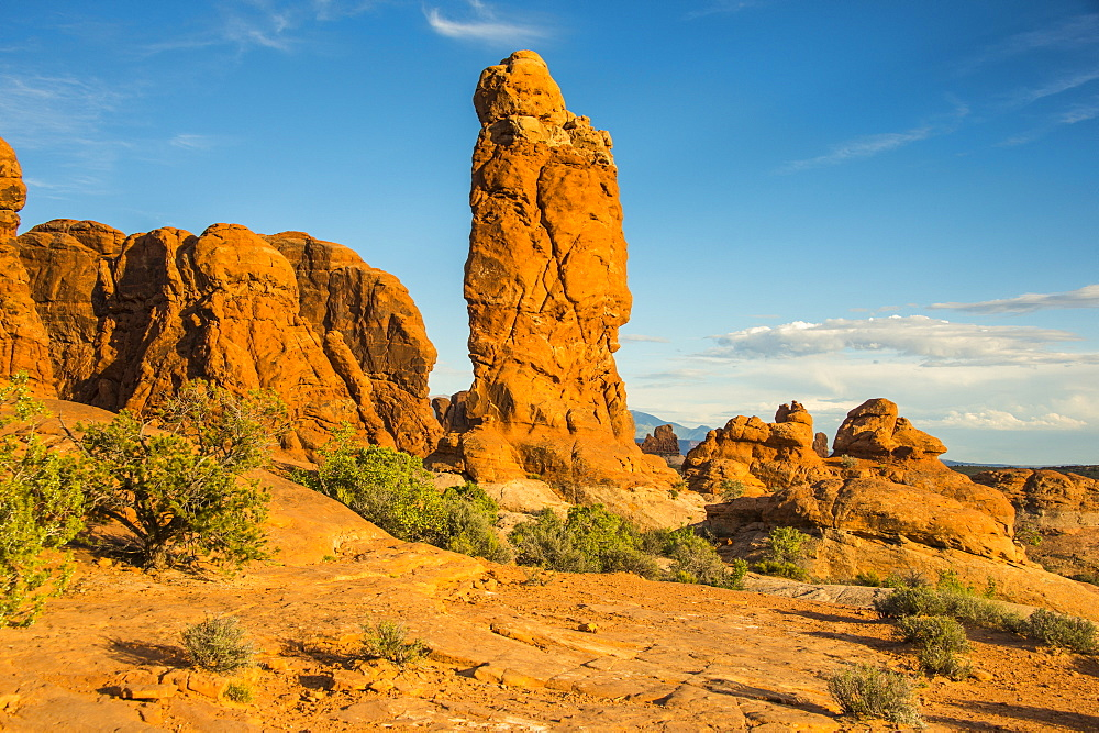 Beautiful red sandstone formations in the Arches National Park, Utah, United States of America, North America